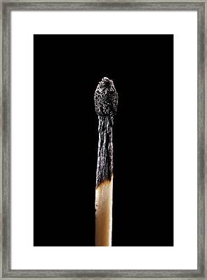 Burnt Matchstick Framed Print by Science Photo Library