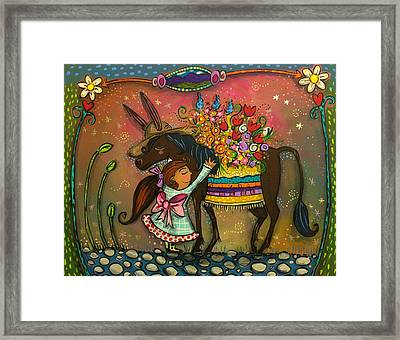 Framed Print featuring the painting Burro Hugs by Marti McGinnis
