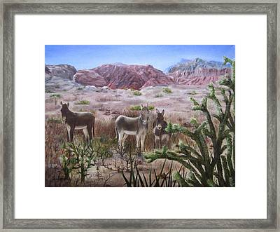 Burros At Red Rock Framed Print by Roseann Gilmore