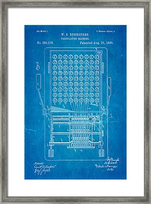 Burroughs Calculating Machine Patent Art 1888 Blueprint Framed Print by Ian Monk