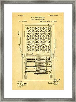 Burroughs Calculating Machine Patent Art 1888 Framed Print
