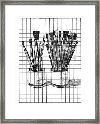 Burshes In Cup Framed Print by Dave Atkins