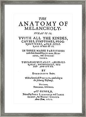 Burton Title Page, 1621 Framed Print by Granger