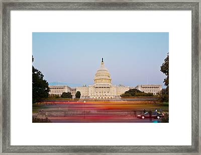 Bus Blur And U.s.capitol Building Framed Print by Richard Nowitz
