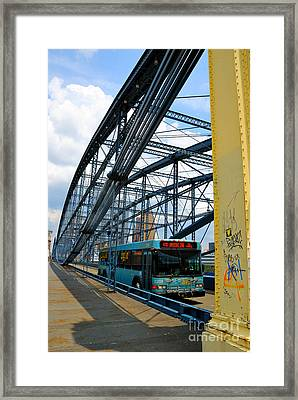 Bus Crossing The Smithfield Street Bridge Pittsburgh Pennsylvania Framed Print by Amy Cicconi