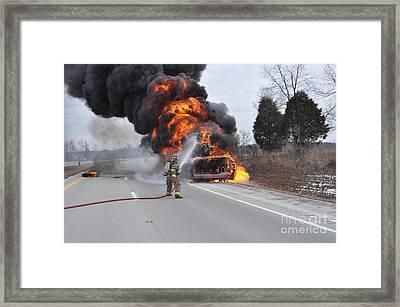Bus Fire Framed Print by Steven Townsend