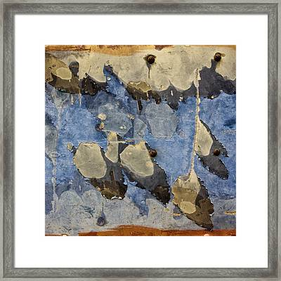 Bus Salvage Art In Blue Framed Print by Carol Leigh