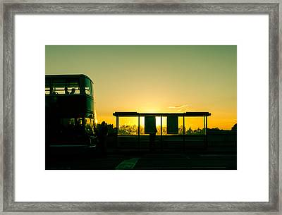 Bus Stop At Sunset Framed Print