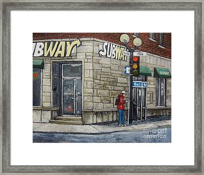 Bus Stop On Monk Framed Print by Reb Frost