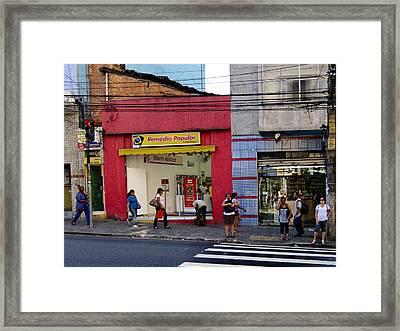 Bus Stop On Rua Teodoro Sampaio Framed Print by Julie Niemela