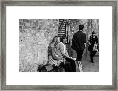 Bus Stop Waiters Framed Print