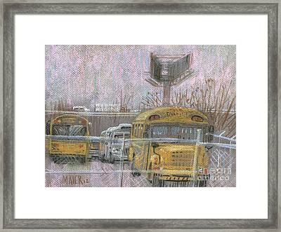 Bus Trucks And Billboards Framed Print