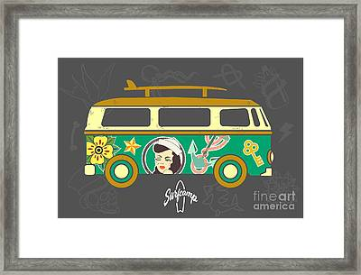 Bus With Surfboard Framed Print