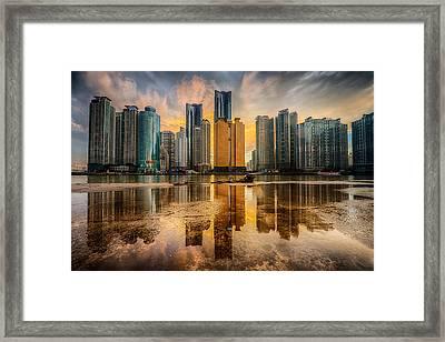 Busan Skyline Framed Print by Keith Homan