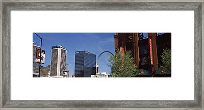 Busch Stadium And Gateway Arch In St Framed Print by Panoramic Images