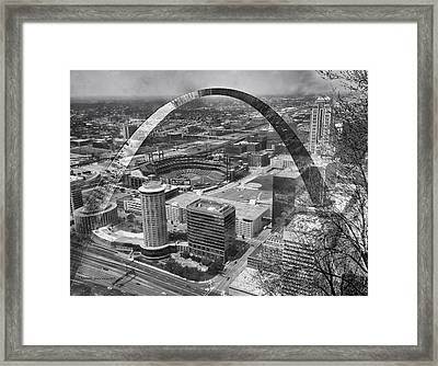 Busch Stadium Bw A View From The Arch Merged Image Framed Print