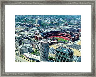 Framed Print featuring the photograph Busch Stadium From The Top Of The Arch by Janette Boyd
