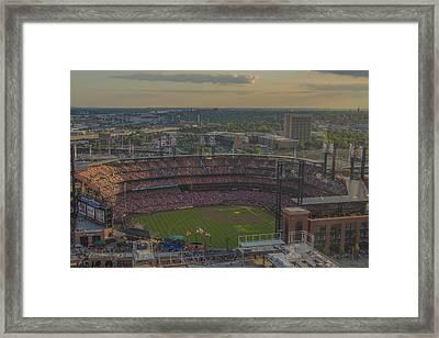 Busch Stadium St. Louis Cardinals Atop Framed Print by David Haskett