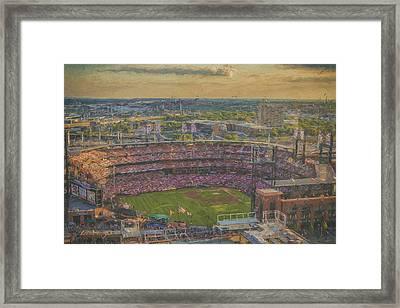 Busch Stadium St. Louis Cardinals Paint 2 Framed Print by David Haskett