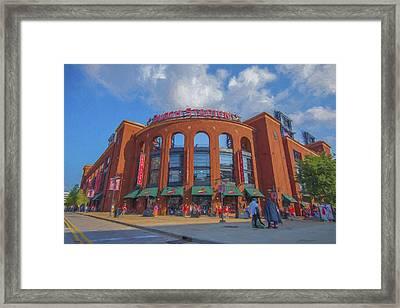 Busch Stadium St. Louis Cardinals Paint Blue Framed Print by David Haskett