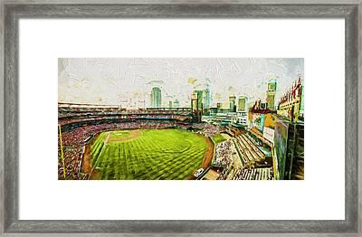 Busch Stadium St. Louis Cardinals Paint Top View Framed Print by David Haskett