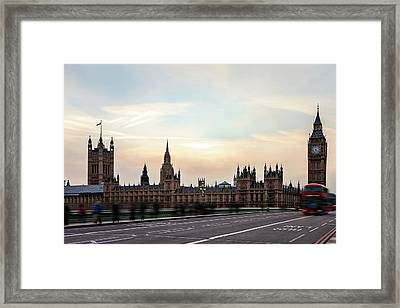 Buses And Tourists Cross The Framed Print by Tatyana Tomsickova Photography