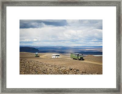 Framed Print featuring the photograph Buses Of Landmannalaugar by Peta Thames