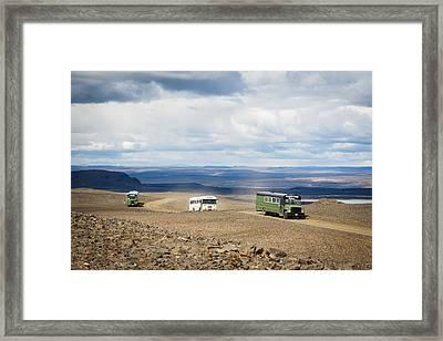 Framed Print featuring the photograph Buses Of Landmannalaugar by Peta Thames