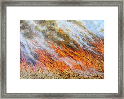 Bushfire Inferno, 2014, Oil On Canvas Framed Print by Tilly Willis