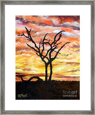 Bushveld Silhouette Framed Print by Caroline Street