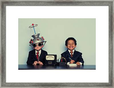 Business Boys Conduct Interview In Framed Print by Richvintage