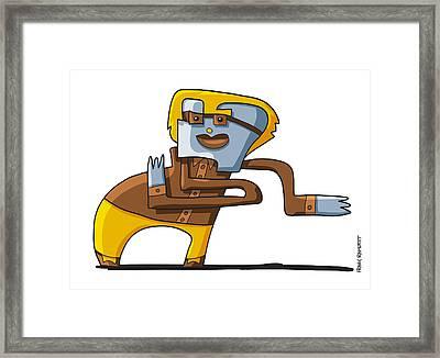 Business Dancer Doodle Character Framed Print by Frank Ramspott