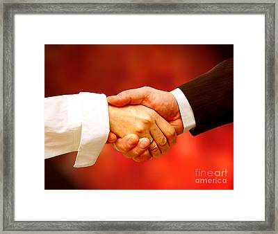 Business Handshake Framed Print by Michal Bednarek