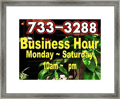 Business Hour Framed Print