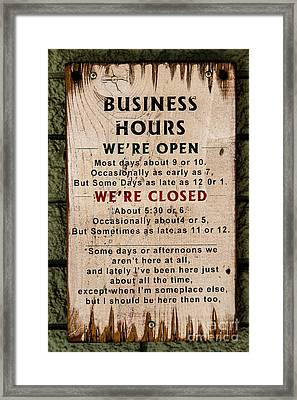 Business Hours Framed Print by Jon Burch Photography