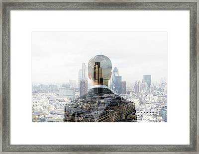 Business Man Looking Towards The City Framed Print by Tim Robberts