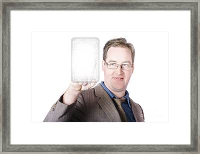 Business Man Pressing Multimedia Touch Button Framed Print