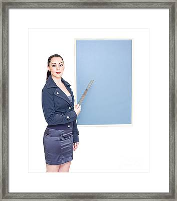 Business Marketing Woman Displaying Text Copyspace Framed Print by Jorgo Photography - Wall Art Gallery