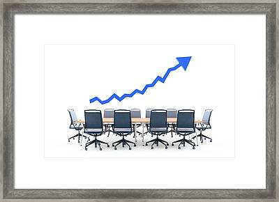 Business Meeting Table With Blue Arrow Framed Print