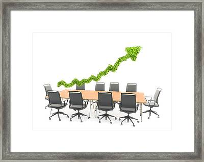Business Meeting Table With Green Arrow Framed Print