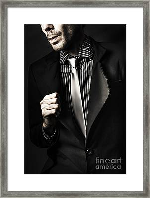 Business Spy In Opulent Modern Suit Framed Print by Jorgo Photography - Wall Art Gallery