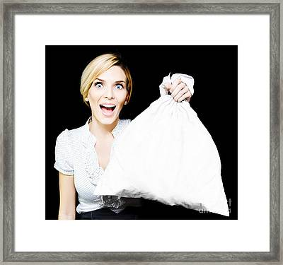 Business Woman Bagging A Bargain With Copyspace Framed Print by Jorgo Photography - Wall Art Gallery
