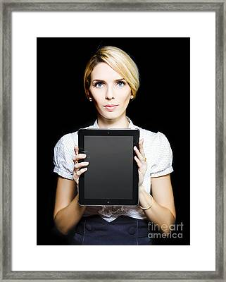 Business Woman Holding Touchpad Tablet Framed Print