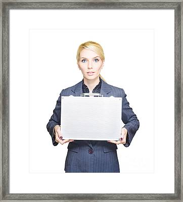 Business Woman Isolated On White Background Framed Print