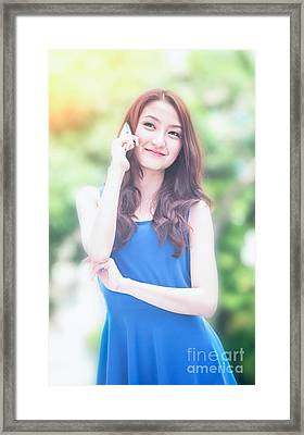 Business Woman Use Mobile Phone Framed Print