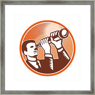 Businessman Holding Looking Telescope Woodcut Framed Print by Aloysius Patrimonio