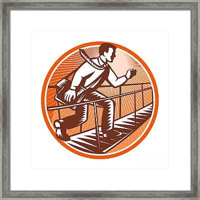 Businessman Satchel Bag Running Bridge Framed Print by Aloysius Patrimonio