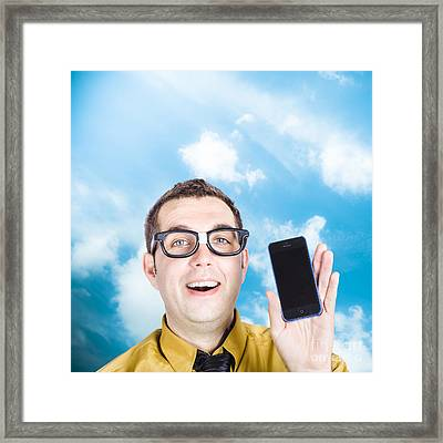 Businessman Showing Blank Smartphone Framed Print by Jorgo Photography - Wall Art Gallery