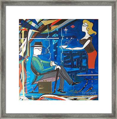 Businessman Sitting In Chair Framed Print