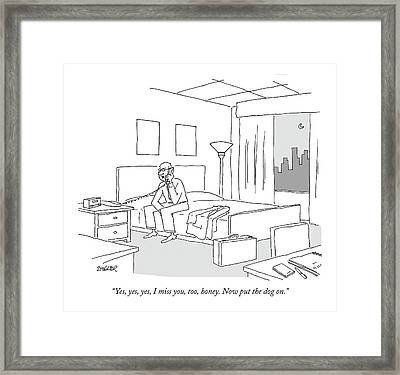 Businessman Sitting On A Bed In Hotel Room Framed Print